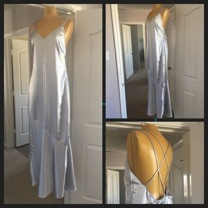 Free People 🦋 silver maxi slip dress